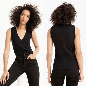 J.Crew black Faux-wrap sleeveless top in eco ponte